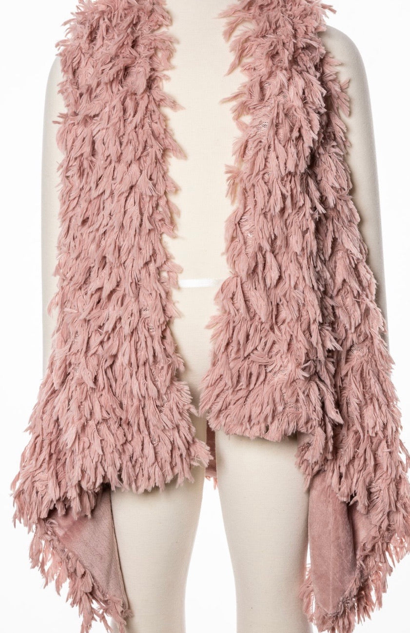 Girl shag vest blush