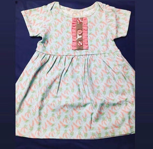 Baby girl dress aqua stripe peach and floral