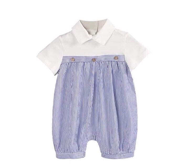 Baby boy blue stripe romper