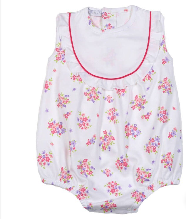 Baby girl white pink purple floral bubble