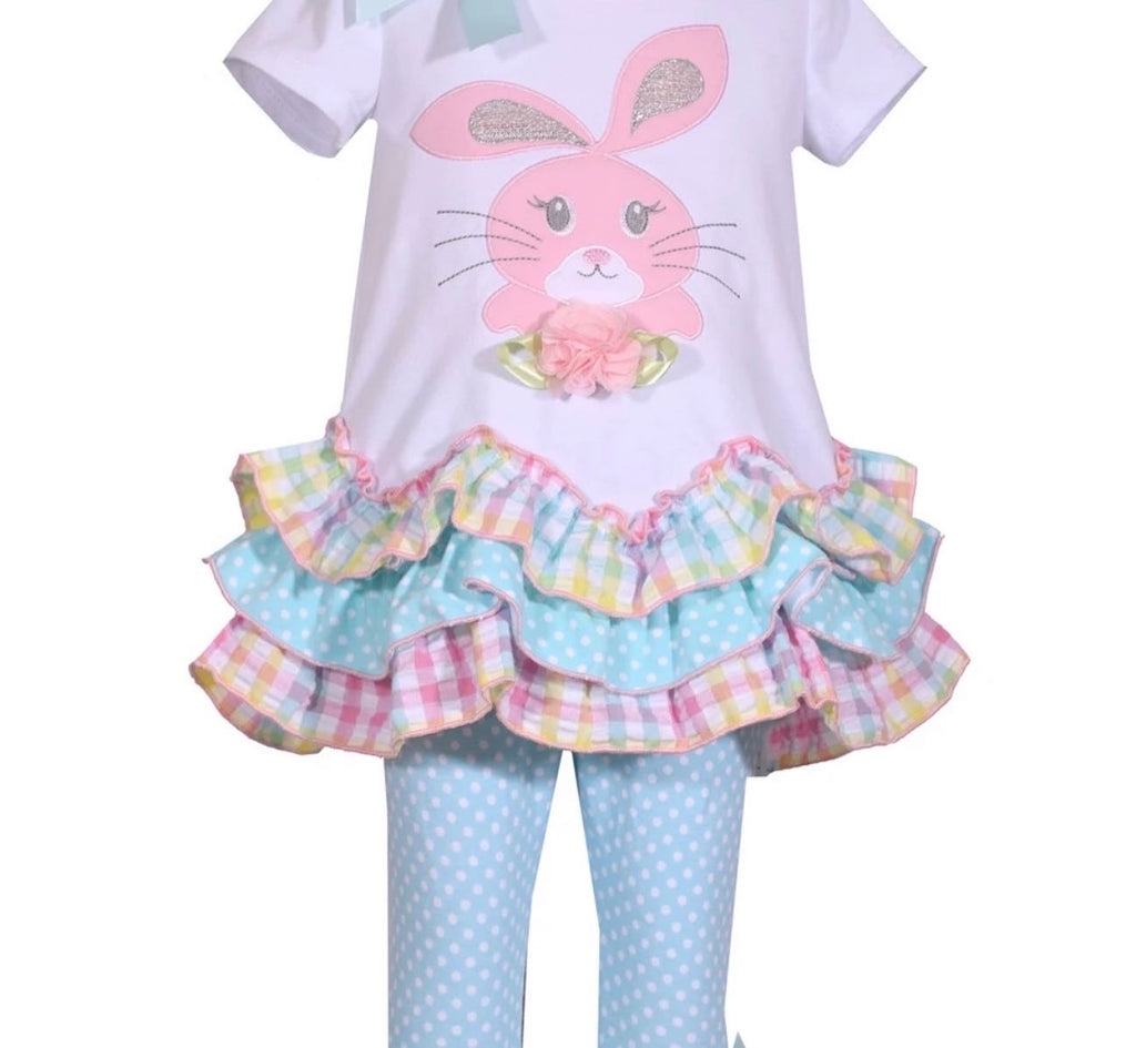 Girl gingham ruffle bunny legging set easter