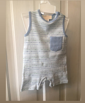 Baby Boy organic blue stripe shortall 6m