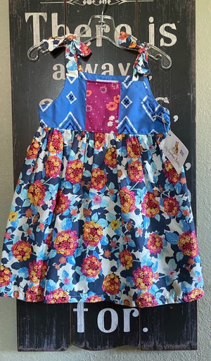 Handmade toddler dress blue bandana orange flower print