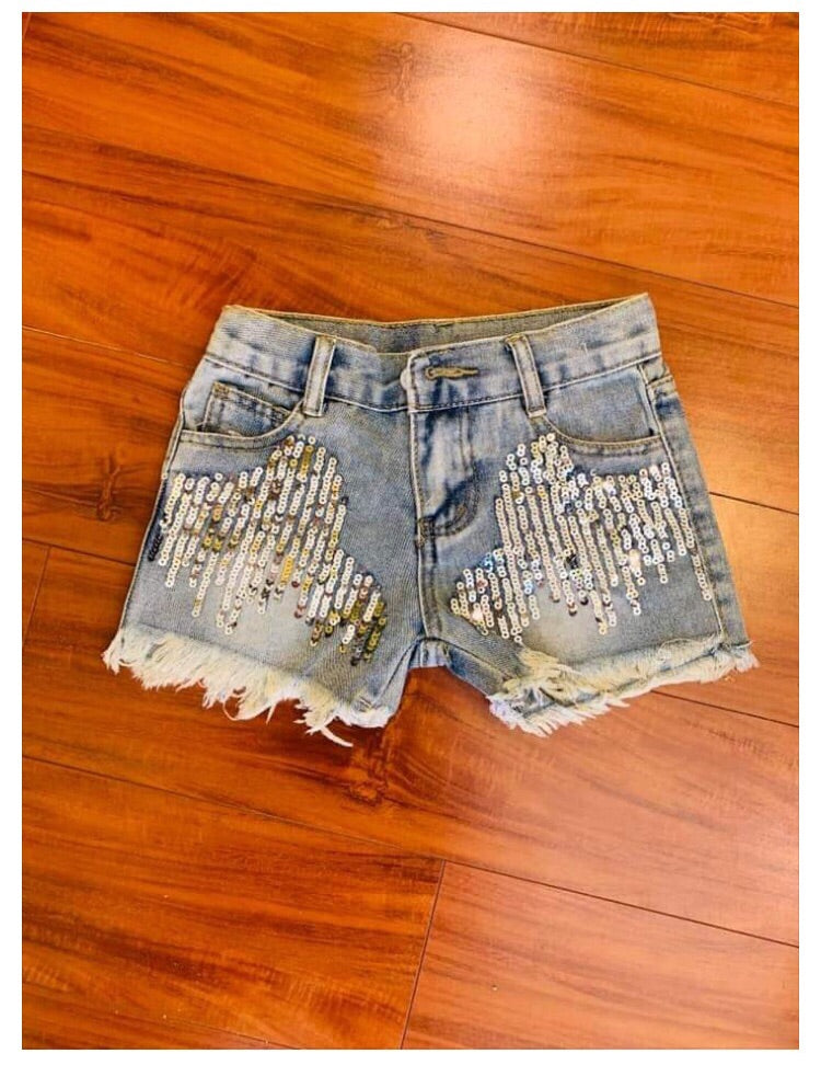 Girl sequin denim short