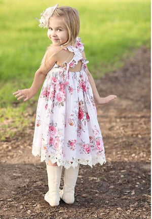 Girl pink floral lace dress