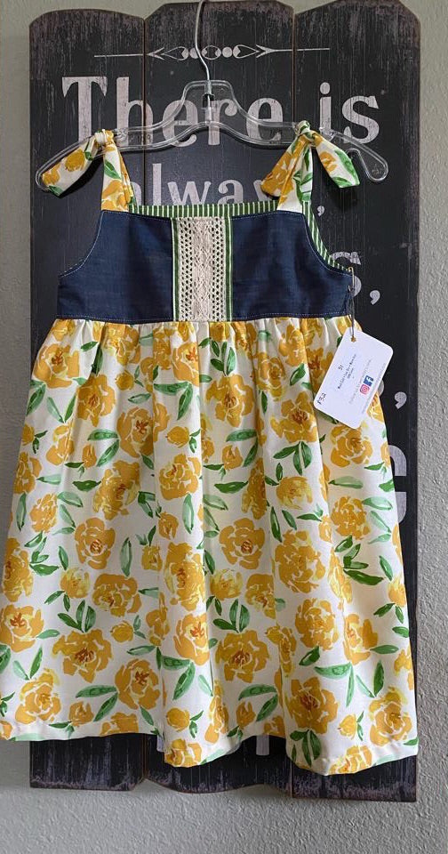 Handmade baby dress yellow floral print