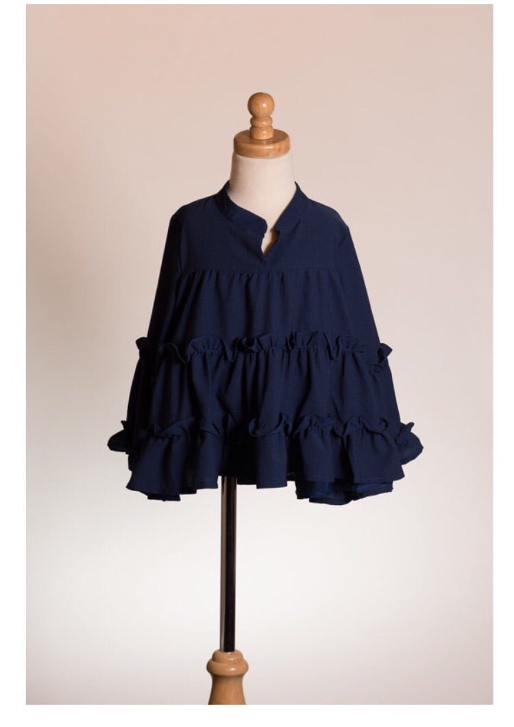 Girl ruffle blouse navy