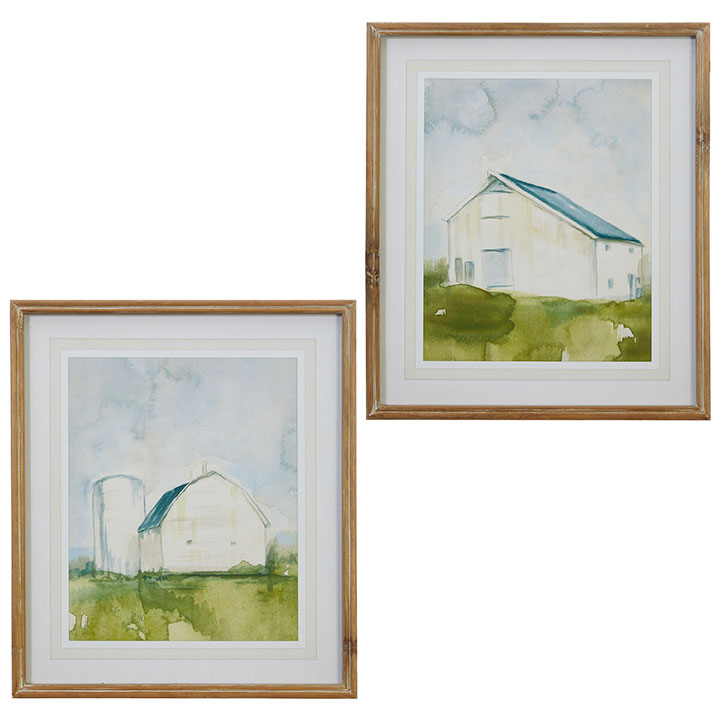 Watercolor Barn Print - Set of 2