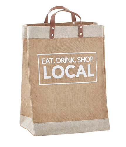 Burlap Tote - Eat. Drink. Shop Local