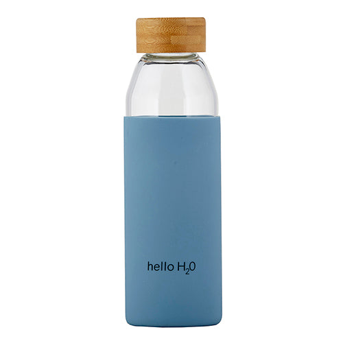 Glass Water Bottle w/ Bamboo Lid - Hello H20