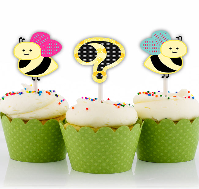 """What Will It BEE"" CUP CAKE TOPPER Baby Shower - Pack of 12"