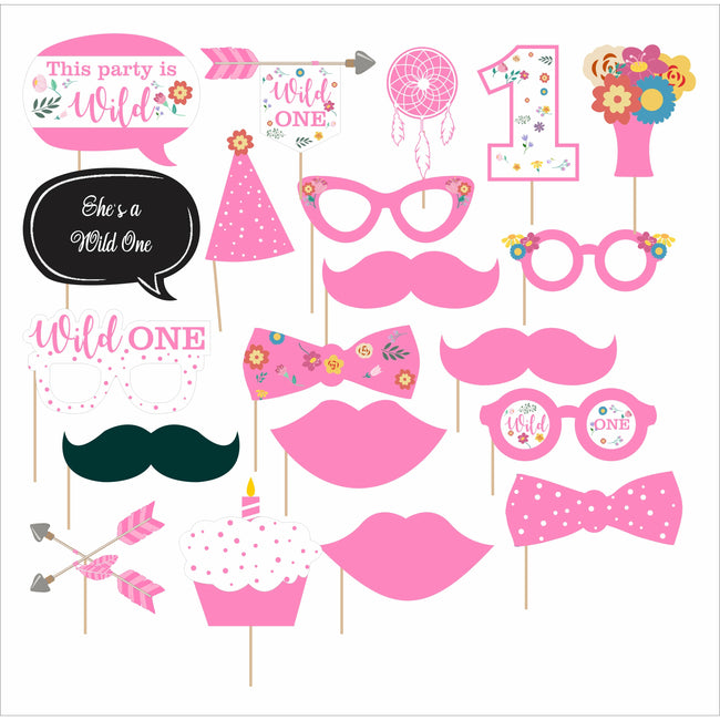 """WILD ONE ""-GIRLS BIRTHDAY PHOTO BOOTH PROPS KIT (SET OF 20)"