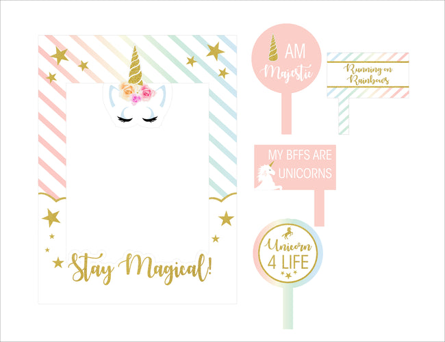 UNICORN Theme Birthday Party Selfie Photo Booth Picture Frame and Props - Printed on Sturdy Material