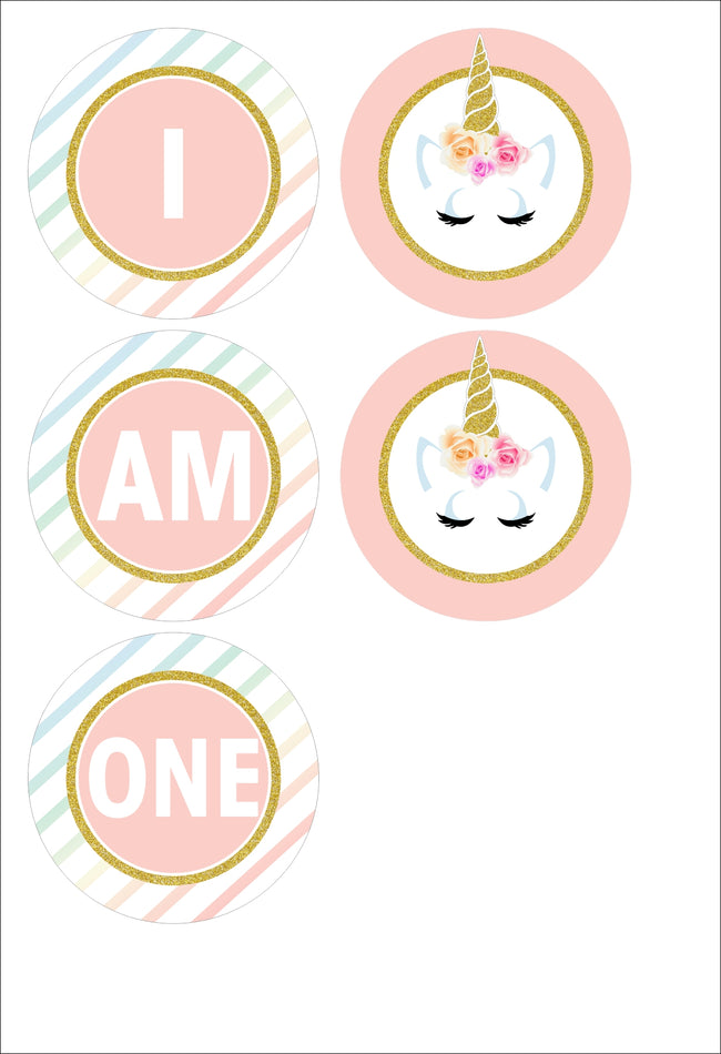 "Unicorn -""I Am One"" Banner For Birthday Girl Decoration"