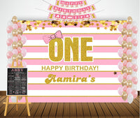 """Personalized Complete Kit - """"On Happy Birthday"""" Girls -Backdrop ,Banner and Chalkborad"""