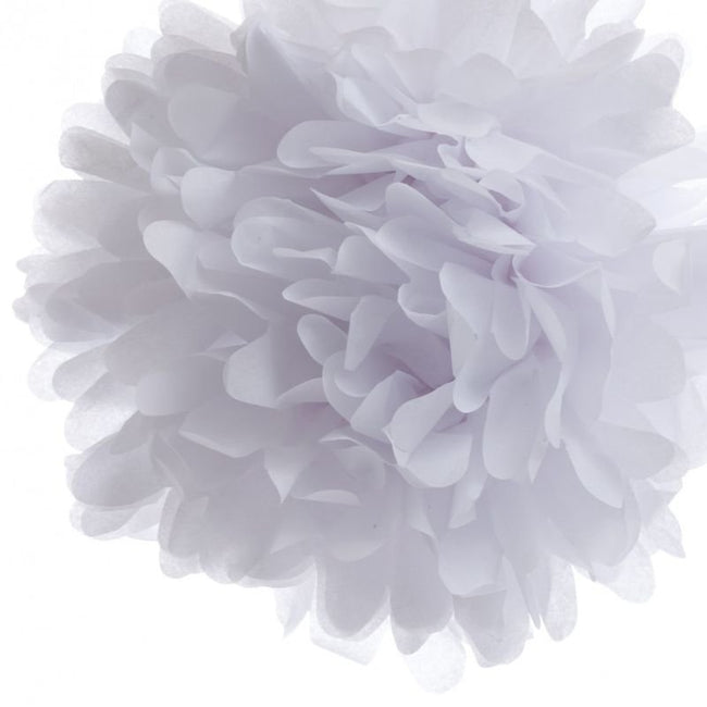White Pom Pom flower Decoration  for birthday parties, Anniversary party & baby shower