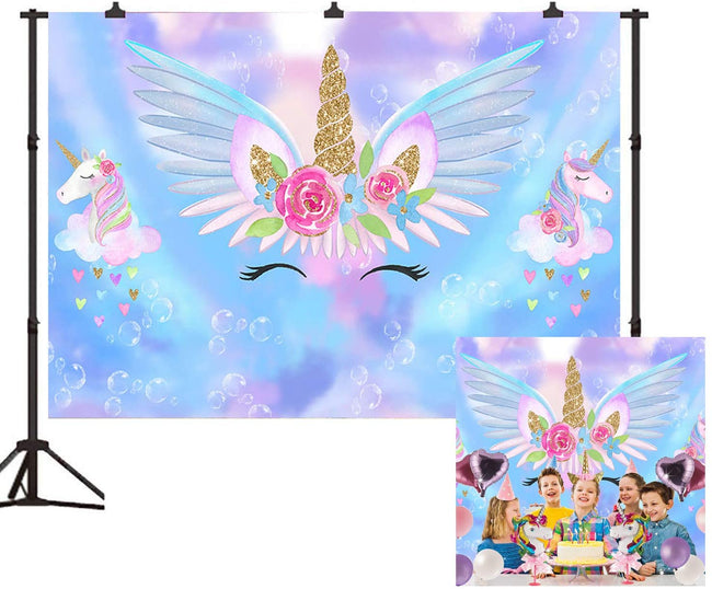 """UNICORN""  BIRTHDAY PARTY BACKDROP FOR PHOTOGRAPHY BANNER KIDS EVENT CAKE TABLE DECOR HOME DECORATION PHOTO BOOTH BACKGROUND"