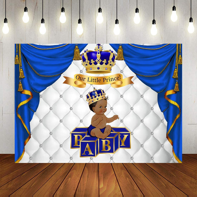 """CROWN PRINCE""  BIRTHDAY PARTY BACKDROP FOR PHOTOGRAPHY BANNER KIDS EVENT CAKE TABLE DECOR HOME DECORATION PHOTO BOOTH BACKGROUND"