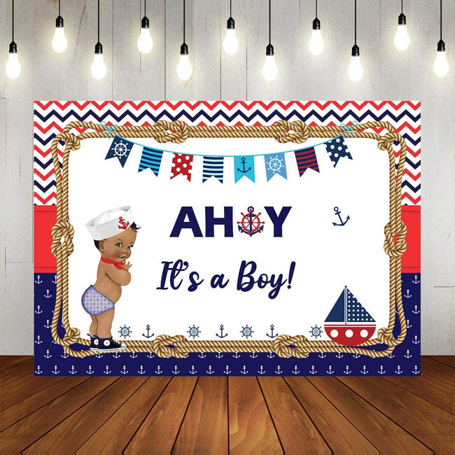 """Nautical-Ahoy""  BIRTHDAY PARTY BACKDROP FOR PHOTOGRAPHY BANNER KIDS EVENT CAKE TABLE DECOR HOME DECORATION PHOTO BOOTH BACKGROUND"