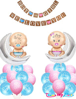 """""""Boy Or Girl We Love You""""  25 pcs Baby Shower Decoration Materials Combo for Banner and Balloons"""