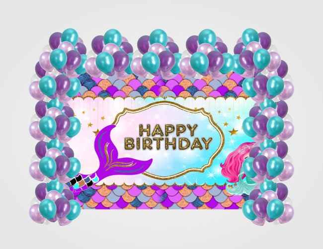 "Copy of ""LITTLE MERMAID"" GIRL BIRTHDAY PARTY BACKDROP FOR PHOTOGRAPHY BANNER KIDS EVENT CAKE TABLE DECOR HOME DECORATION PHOTO BOOTH BACKGROUND"