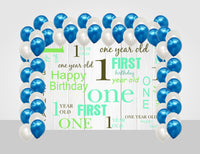 """Combo Kit -""""Fun Is One """" Decoration Kit With Backdrop And Balloons"""