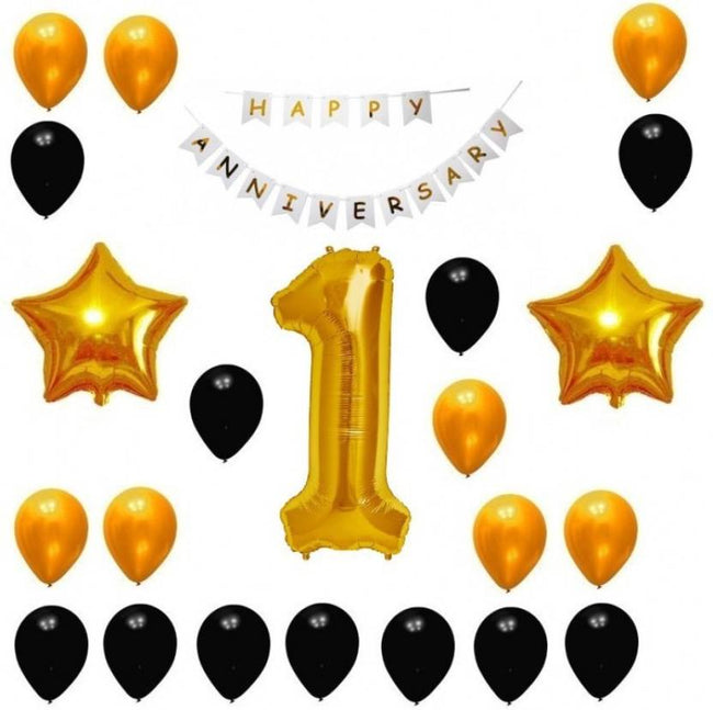 1st Anniversary combo -Happy Anniversary Banner + 1 Number Balloon+Gold Black Balloons +Star foil Balloons
