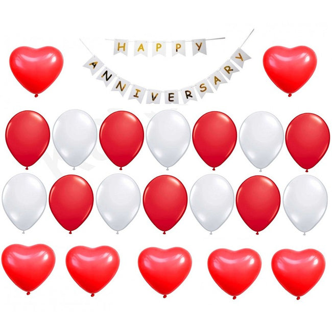 Happy Anniversary Decoration Combo- Happy Anniversary  Banner ,Red and White Latex Balloons,Red  Heart Balloons