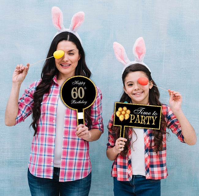 60th Milestone Party Selfie Photo Booth Picture Frame and Props - Printed on Sturdy Material