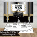 """LITTLE MAN""  BIRTHDAY PARTY BACKDROP FOR PHOTOGRAPHY BANNER KIDS EVENT CAKE TABLE DECOR HOME DECORATION PHOTO BOOTH BACKGROUND"