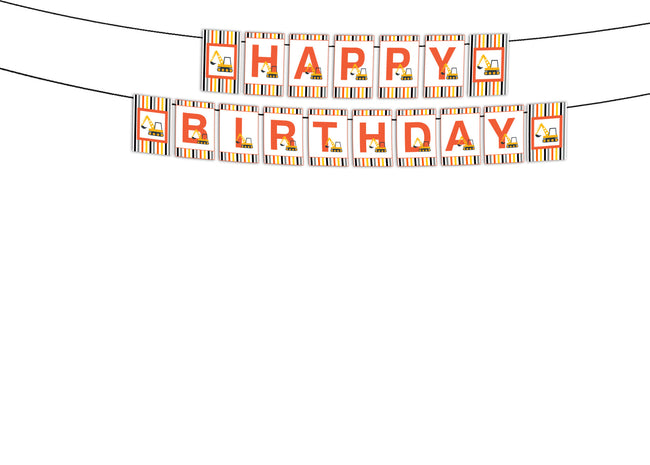 Construction Theme Happy Birthday Banner For Decoration Boys Birthday