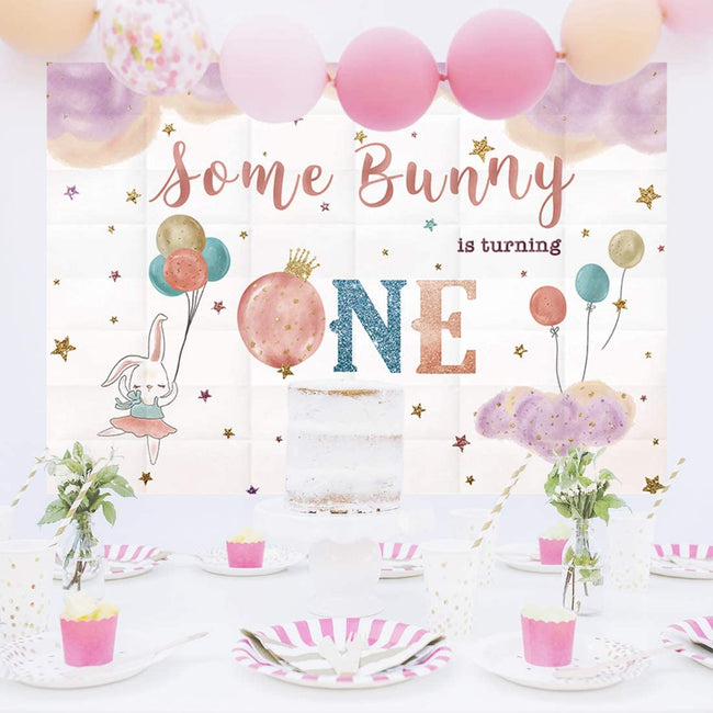 """ONE IS FUN""-GIRL BIRTHDAY PARTY BACKDROP FOR PHOTOGRAPHY 1ST FIRST PINK BANNER GIRL  KIDS EVENT CAKE TABLE DECOR HOME DECORATION PHOTO BOOTH BACKGROUND"
