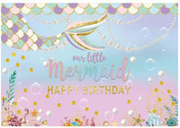 """""""Little Mermaid"""" Girl Birthday Party Backdrop For Photography Banner Kids Event Cake Table Decor Home Decoration Photo Booth Background"""