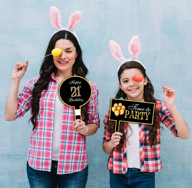 21st Milestone Party Selfie Photo Booth Picture Frame and Props - Printed on Sturdy Material