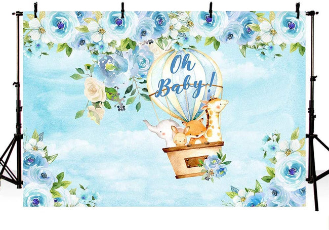 """UP UP AND AWAY - HOT AIR""  BIRTHDAY PARTY BACKDROP FOR PHOTOGRAPHY BANNER KIDS EVENT CAKE TABLE DECOR HOME DECORATION PHOTO BOOTH BACKGROUND"