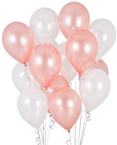 Rose Gold  and White Party Balloons-Birthday Parties, Bridal Shower, Baby Shower