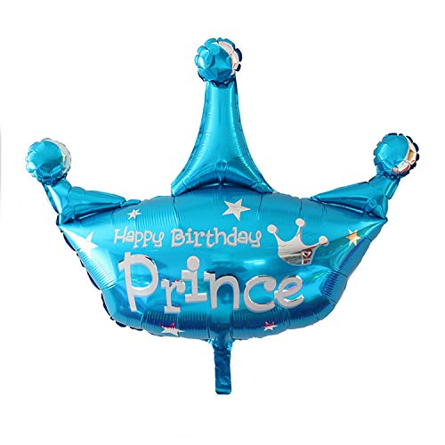 Party Foil Balloon Pack of 5 for Prince Birthday Decoration for Boys
