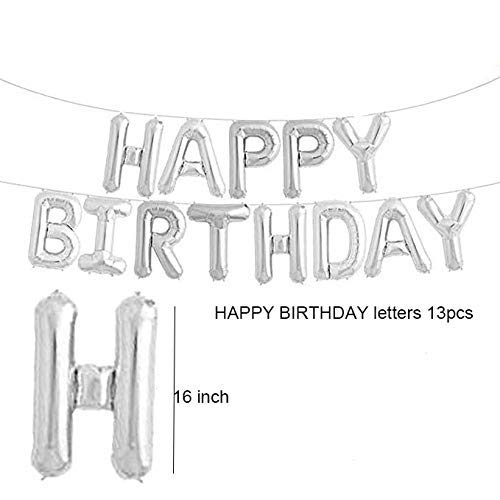 """Silver and Black Birthday Decoration Combo""- Happy Birthday Balloon ,Black and Silver Foil Balloons , Latex Balloons, Metallic Tinsel Foil Fringe Curtains"