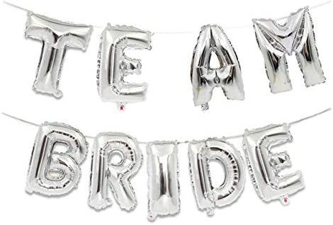 "16"" Inch ""Team Bride"" Foil Letter Balloons -3D Banner Engagement Party Photo Prop Banner Bachelor Parties Decorations (Silver)"