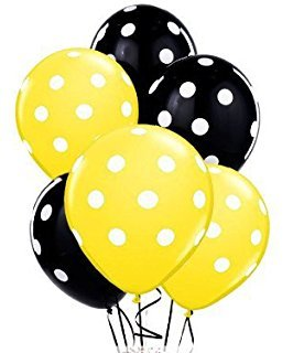 Black and Yellow Polka Dot Party Balloons-Birthday Parties, Bee Baby Shower Theme