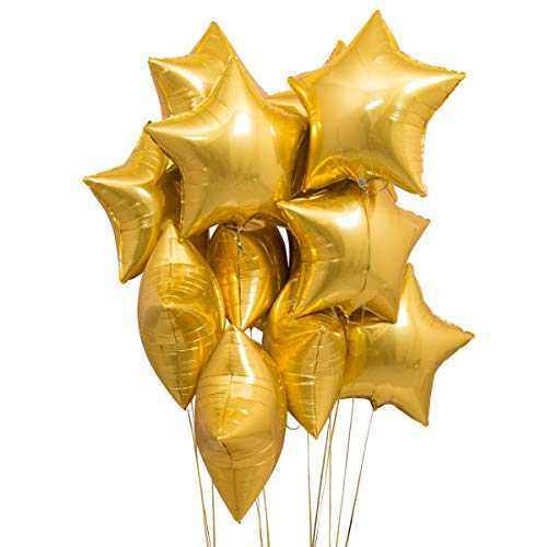 Golden Star Shaped Foil Mylar Helium Balloon suitable for any celebrations.