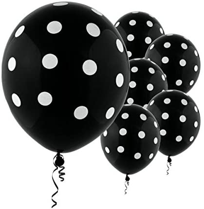 Black Polka Dot Party Balloons-Birthday Parties, Anniversary Parties etc.