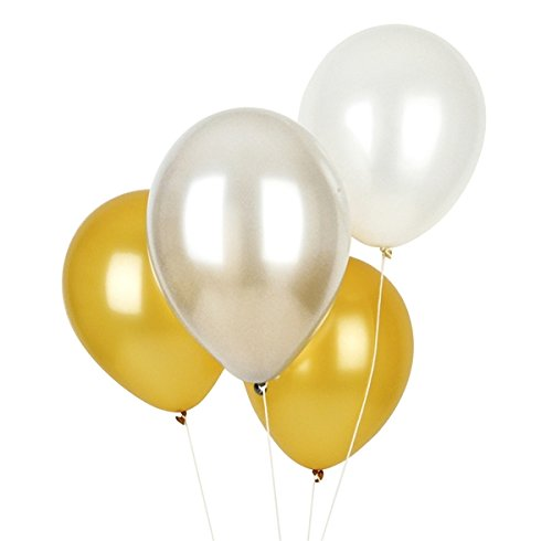 Birthday Decoration Banner & Balloons(Golden White and Silver)