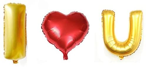 """I Love You"" Foil Balloons Letter and Red Heart for Valentine's Day, Wedding Proposal Decoration"