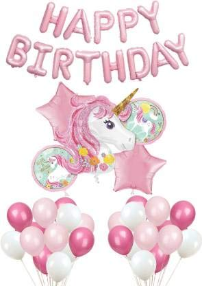 Magical Unicorn Birthday Party Kit Balloon Happy Birthday ,Foil  and Latex Balloons