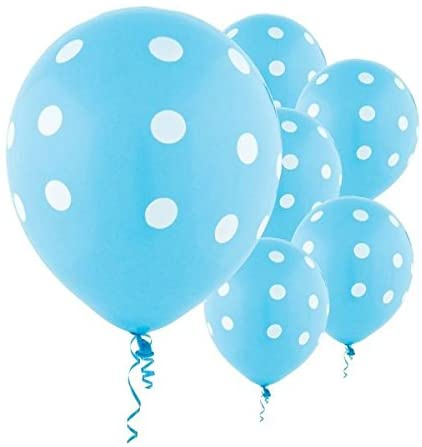 Blue Polka Dot Party Balloons-Birthday Parties, Baby Welcome, Baby Shower Decorations.