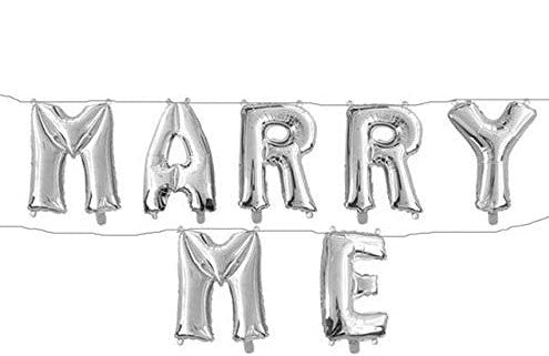 "16"" inch ""MARRY ME "" Silver  Letter  Foil Balloon -Valentine Day ,Propose Day Decorations"