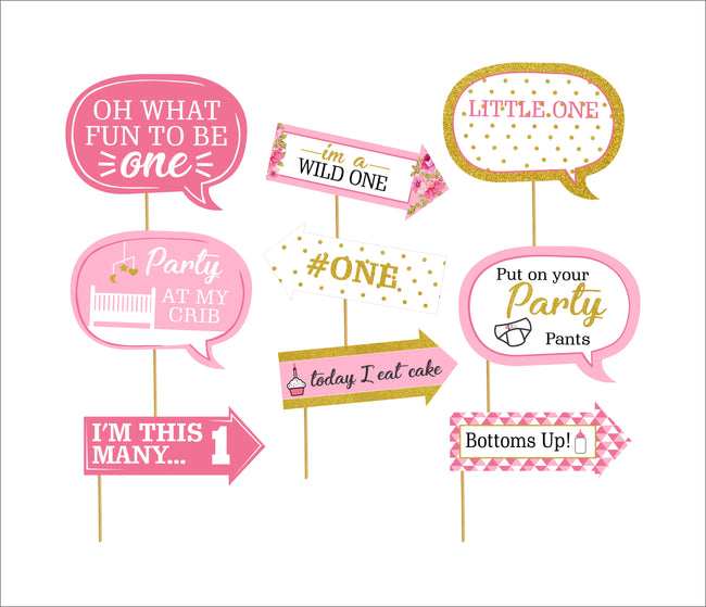 """One Is Fun ""-Girls Photo Booth Props Kit(Pack Of 10)"