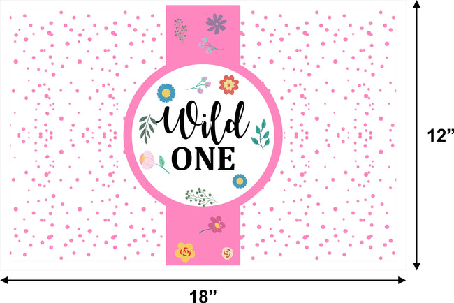 """WILD ONE"" - GIRLS FIRST BIRTHDAY DECORATION TABLE MAT (PACK OF 6)"