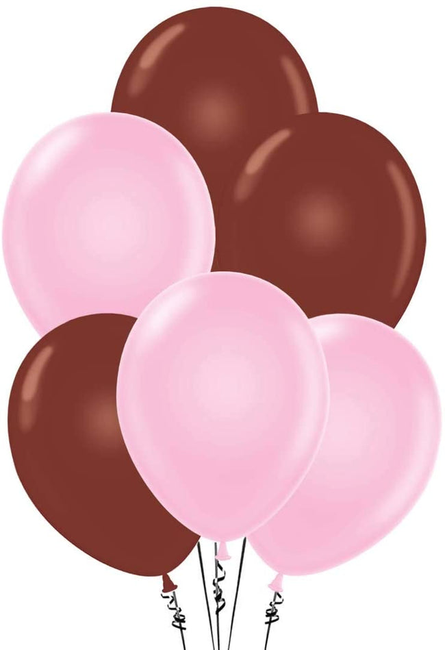 Pink and Brown  Party Balloons-Birthday Parties,Cute Teddy Party